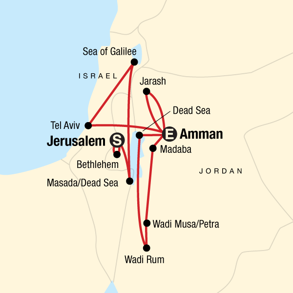 Map of the route for Explore Israel & Jordan