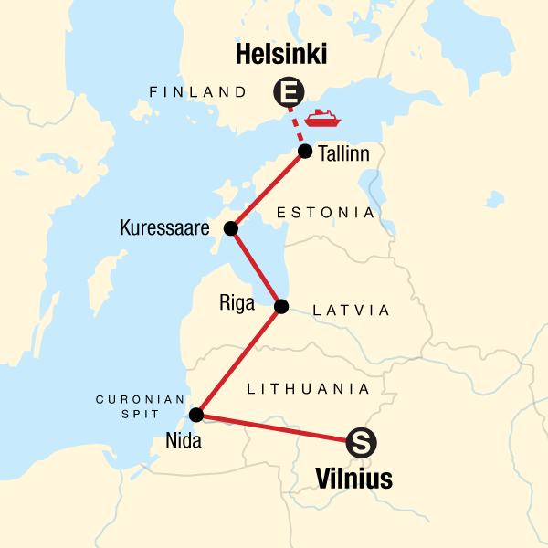 Map of the route for Baltic Adventure