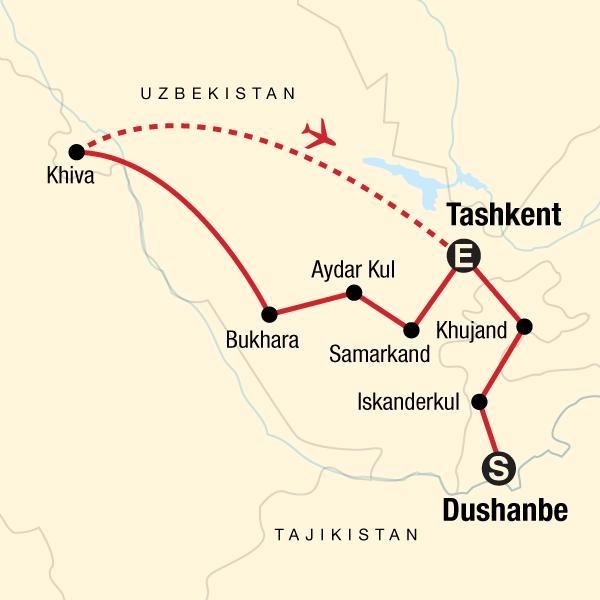 Map of the route for Best of Tajikistan & Uzbekistan