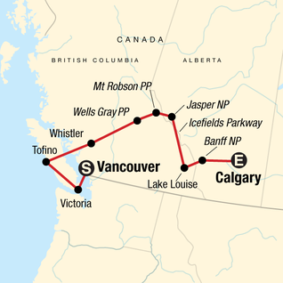 Map of Canadian Rockies: National Parks Eastbound