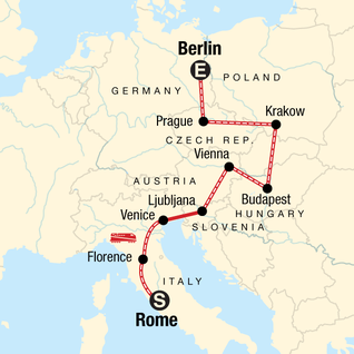 Map of Rome to Berlin: Piazzas, Pilsners & the Past