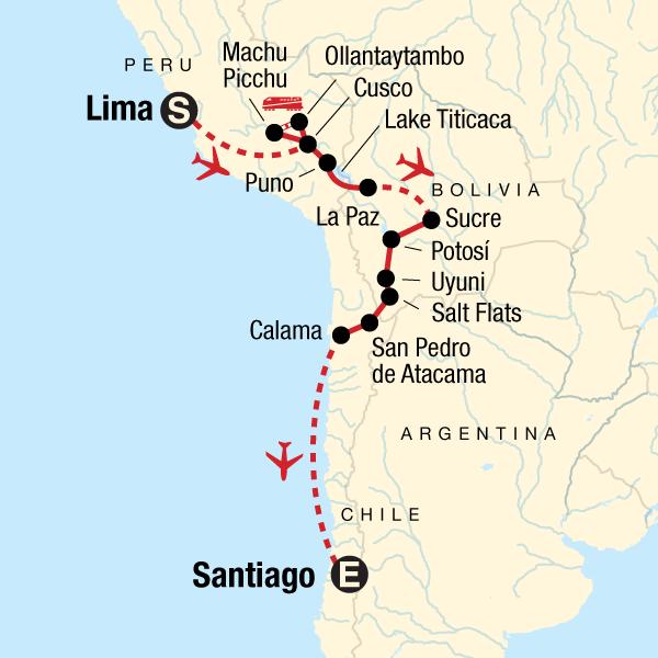 Atacama Wüste Karte.Die Highlights Von Südamerika Von Lima Nach Santiago De Chile
