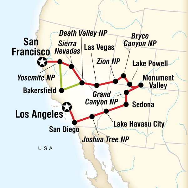 map of the route for national parks bright lights