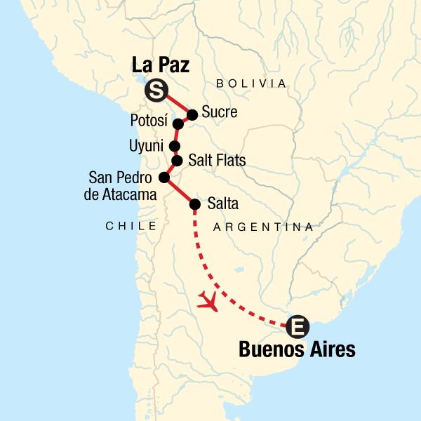 Atacama Wüste Karte.Erlebnisreise Durch Südamerika Von La Paz Nach Buenos Aires