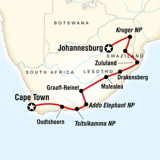 Map of South Africa Camping Adventure