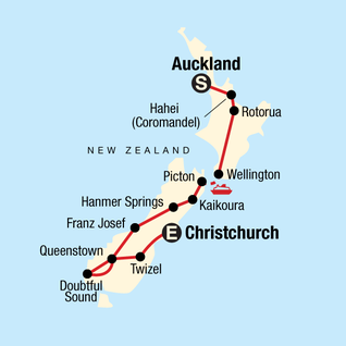 Map of Highlights of New Zealand