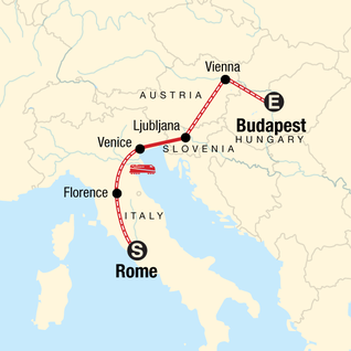 Map of Rome to Budapest: Canals & Capitals