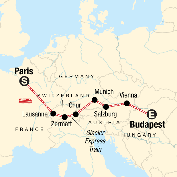 Map Of France Germany Switzerland.Europe By Rail With The Glacier Express