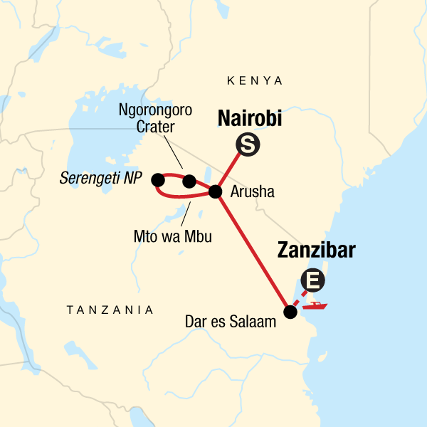 Map of the route for Nairobi to Zanzibar: Serengeti & Sunsets