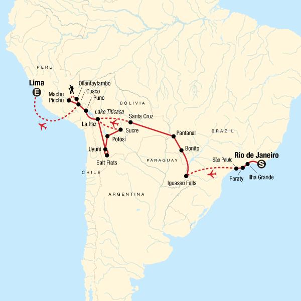 Rio De Janeiro Karte.Rundreise Durch Sudamerika Von Rio De Janeiro Nach Lima