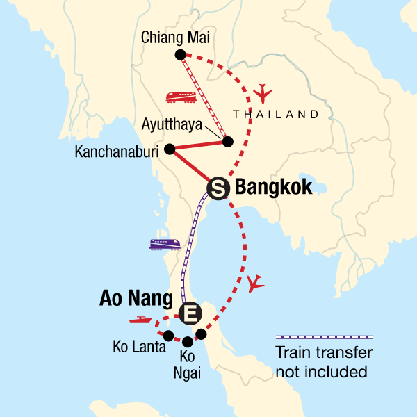 Kanchanaburi Thailand Map.Classic Thailand West Coast In Thailand Asia G Adventures