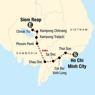 Map of Mekong River Experience – Ho Chi Minh City to Siem Reap