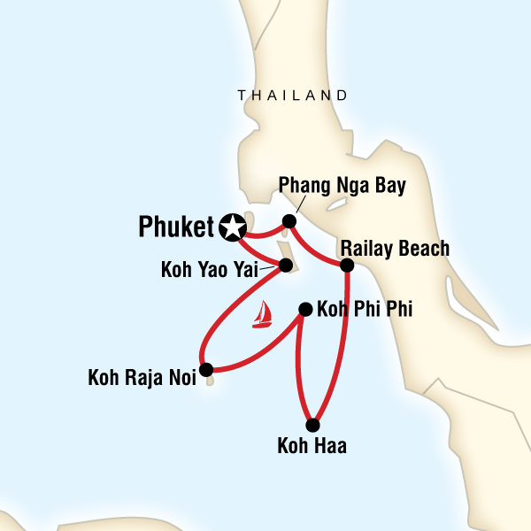 Map of the route for Sailing Thailand - Phuket to Phuket