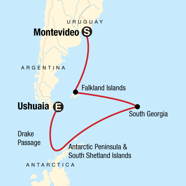 Map of the route for Falklands, South Georgia & Antarctica