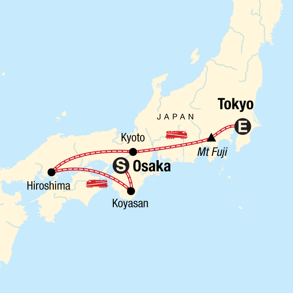 Japan Karte Tokio.Japan Express Von Osaka Nach Tokio In Japan Asien G Adventures