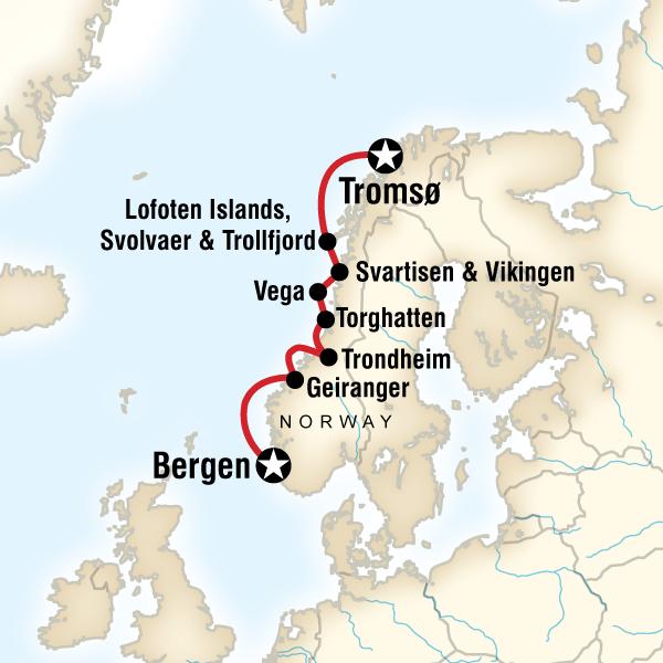Cruise the Norwegian Fjords  Troms to Bergen in Norway Arctic