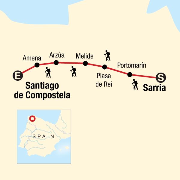 Walk the Camino de Santiago in Spain, Europe - G Adventures Camino French Way Map on