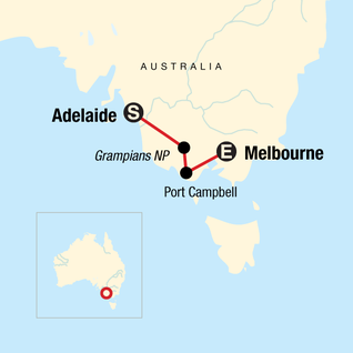 Map of Great Ocean Road East: Adelaide to Melbourne