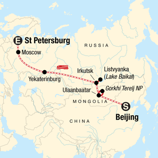 Map of Trans-Mongolian Express