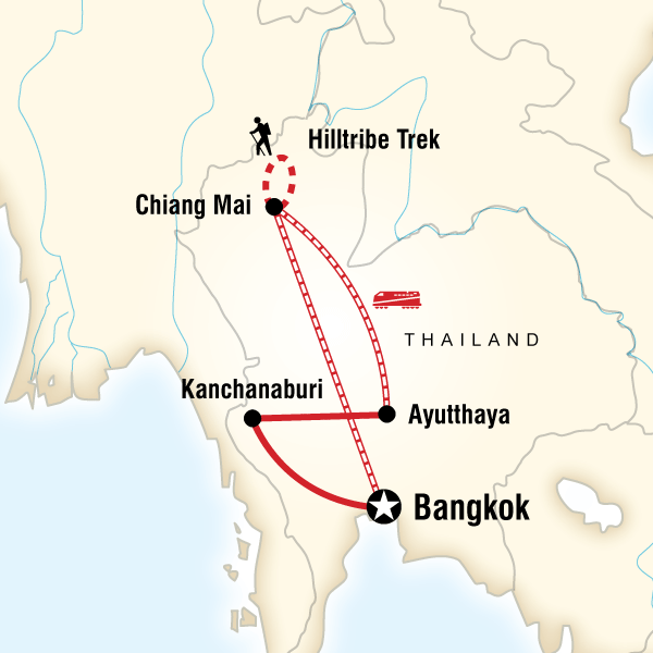 Map of the route for Northern Thailand Experience