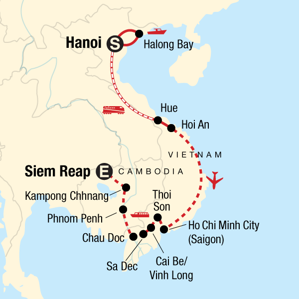 Map of the route for Classic Vietnam & Mekong River Adventure