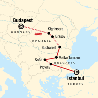 Map of Budapest to Istanbul