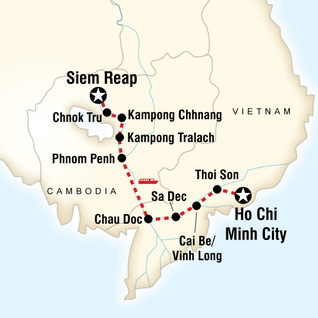 Map of Mekong River Encompassed – Siem Reap to Ho Chi Minh City
