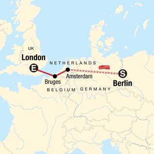 Map of Berlin to London: Bikes & Beer Gardens