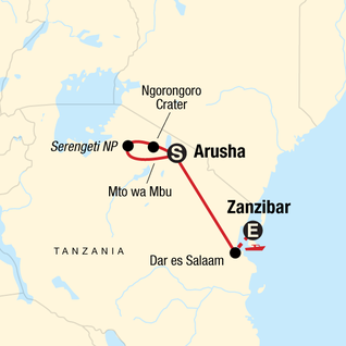 Map of Tanzania to Zanzibar: White Sands & the Wilderness