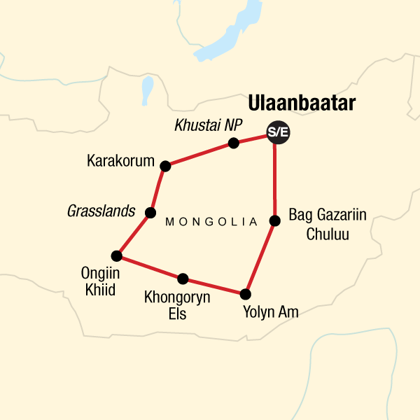 Map of the route for Nomadic Mongolia