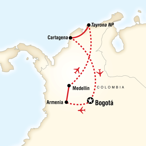 Map of the route for Colombia Journey