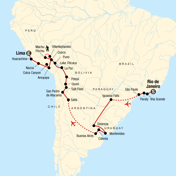 Map of the route for Rio to Lima: Machu Picchu & Markets