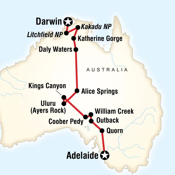 Outback to the Top EndAdelaide to Darwin in Australia Australia