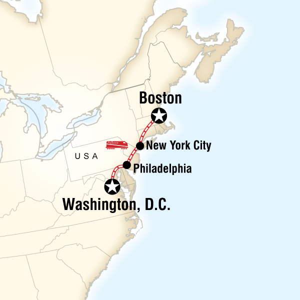 Historic American Cities By Rail In United States North America - New york to boston rail on map of us