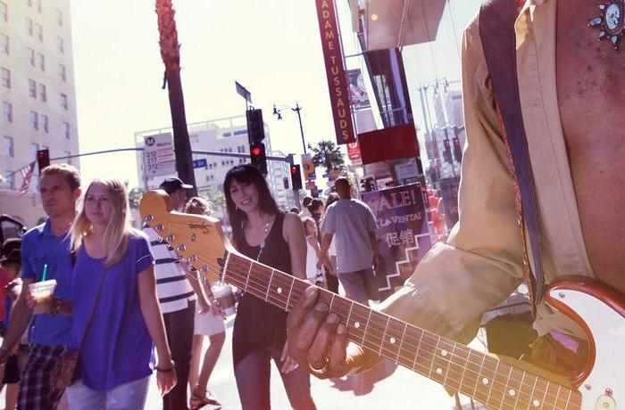 Pedestrians walking past electric guitar street performer in Hollywood, California, USA