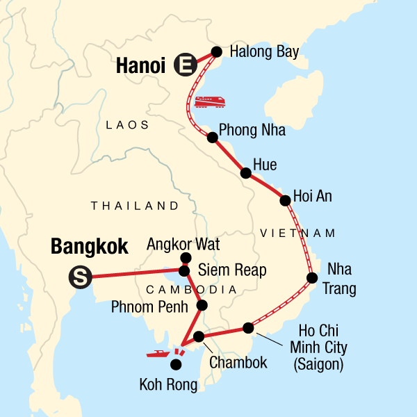Map of the route for Cambodia & Vietnam: Bonfires & Banh Mi