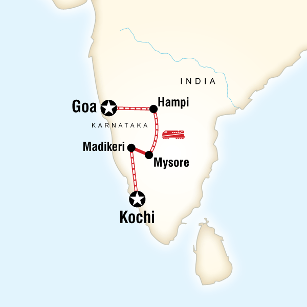 Map of the route for Southern India & Karnataka by Rail