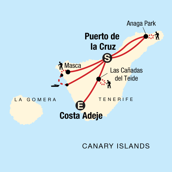 Map of the route for Hiking the Canary Islands: Tenerife, Anaga, and Beyond