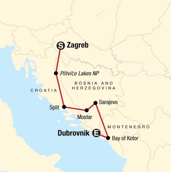 Map of the route for Discover the Balkans