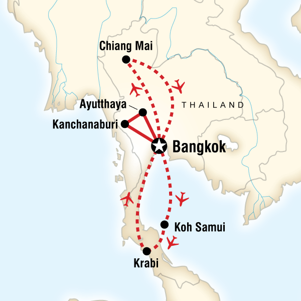Map of the route for North & South Thailand Highlights