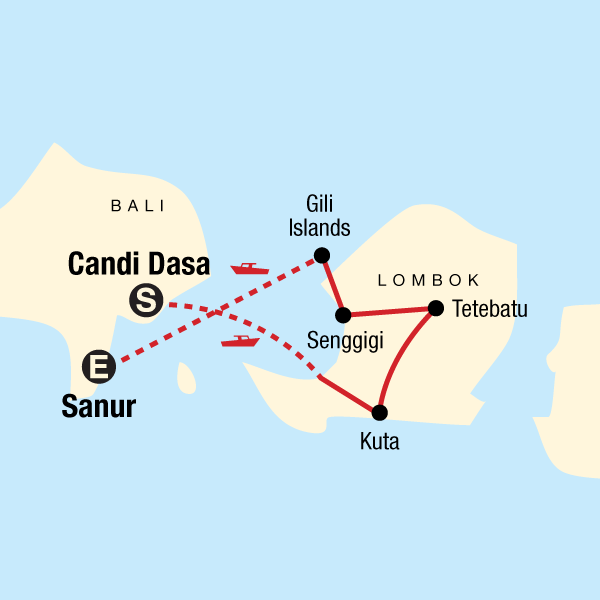 Map of the route for Classic Lombok