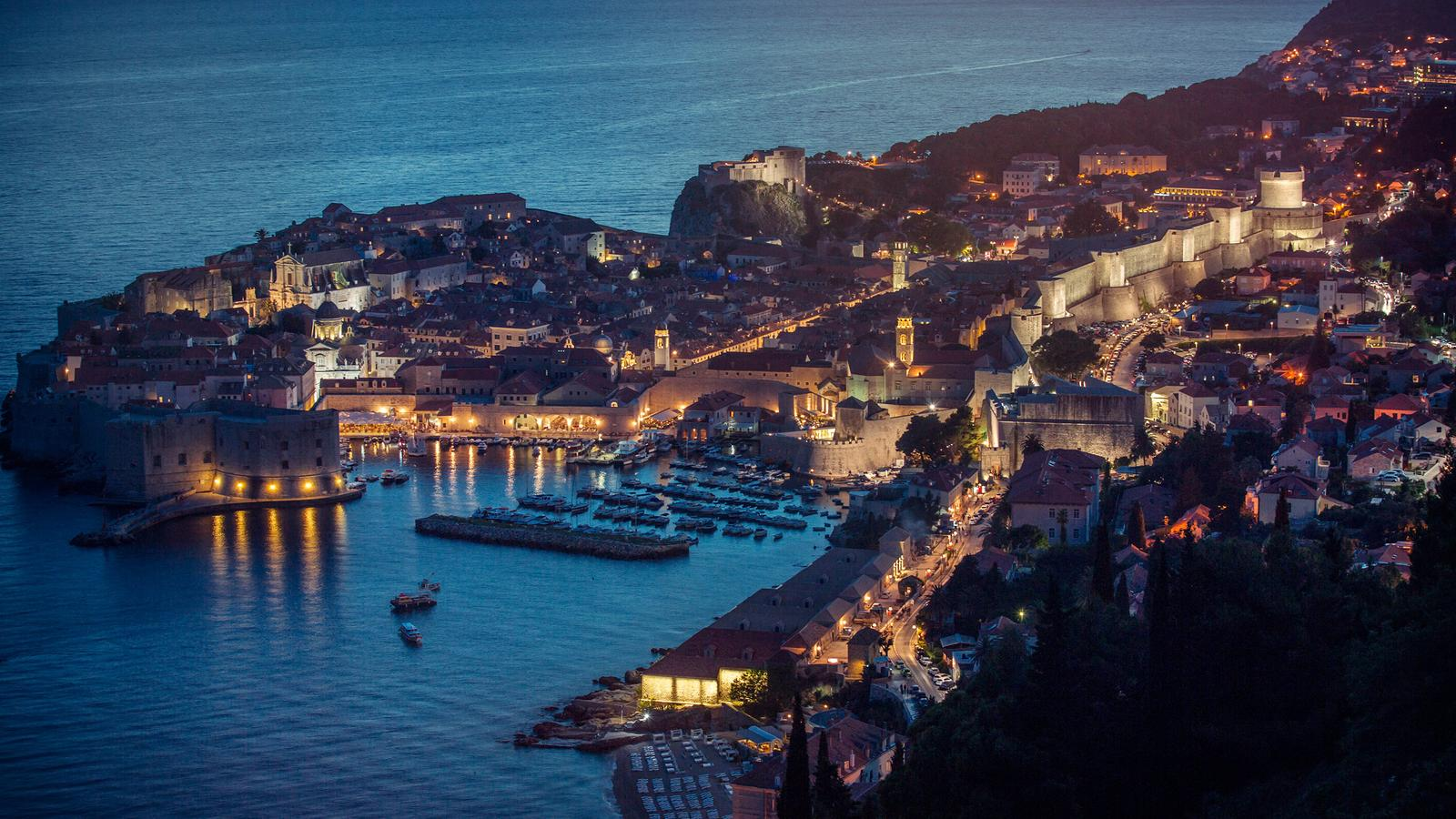 Night time view of Dubrovnik