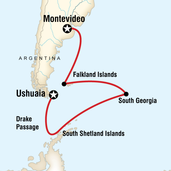 Map of the route for Falklands, South Georgia & Antarctic Islands