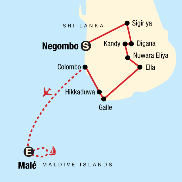 Map of the route for Sri Lanka Spice Gardens & Seasides with Maldives Cruise