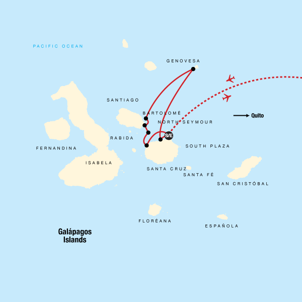 Map of the route for Galápagos — North & Central Islands aboard the Eden