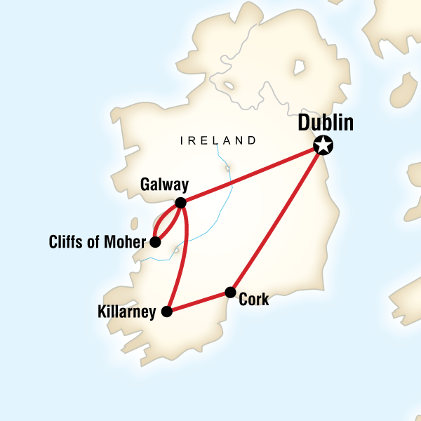 Map of the route for Highlights of Ireland
