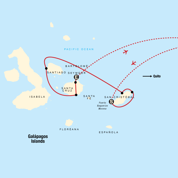 Map of the route for Galápagos Land & Sea — Central & East Islands aboard the Xavier III