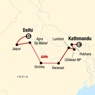 Map of Delhi to Kathmandu Adventure