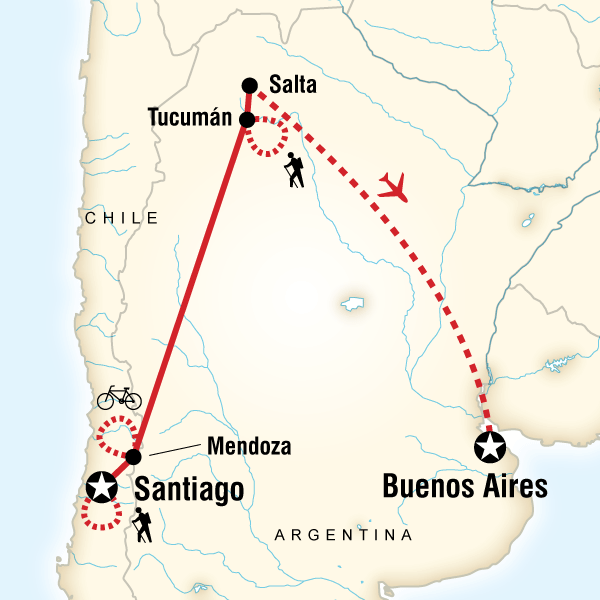 Map of the route for Active Chile & Argentina