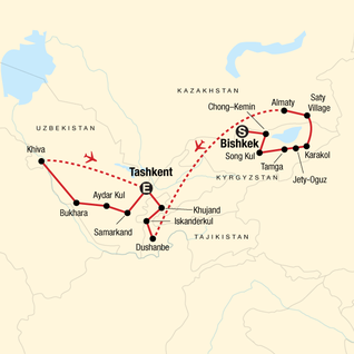 Map of Multi-Stan Adventure - Bishkek to Tashkent